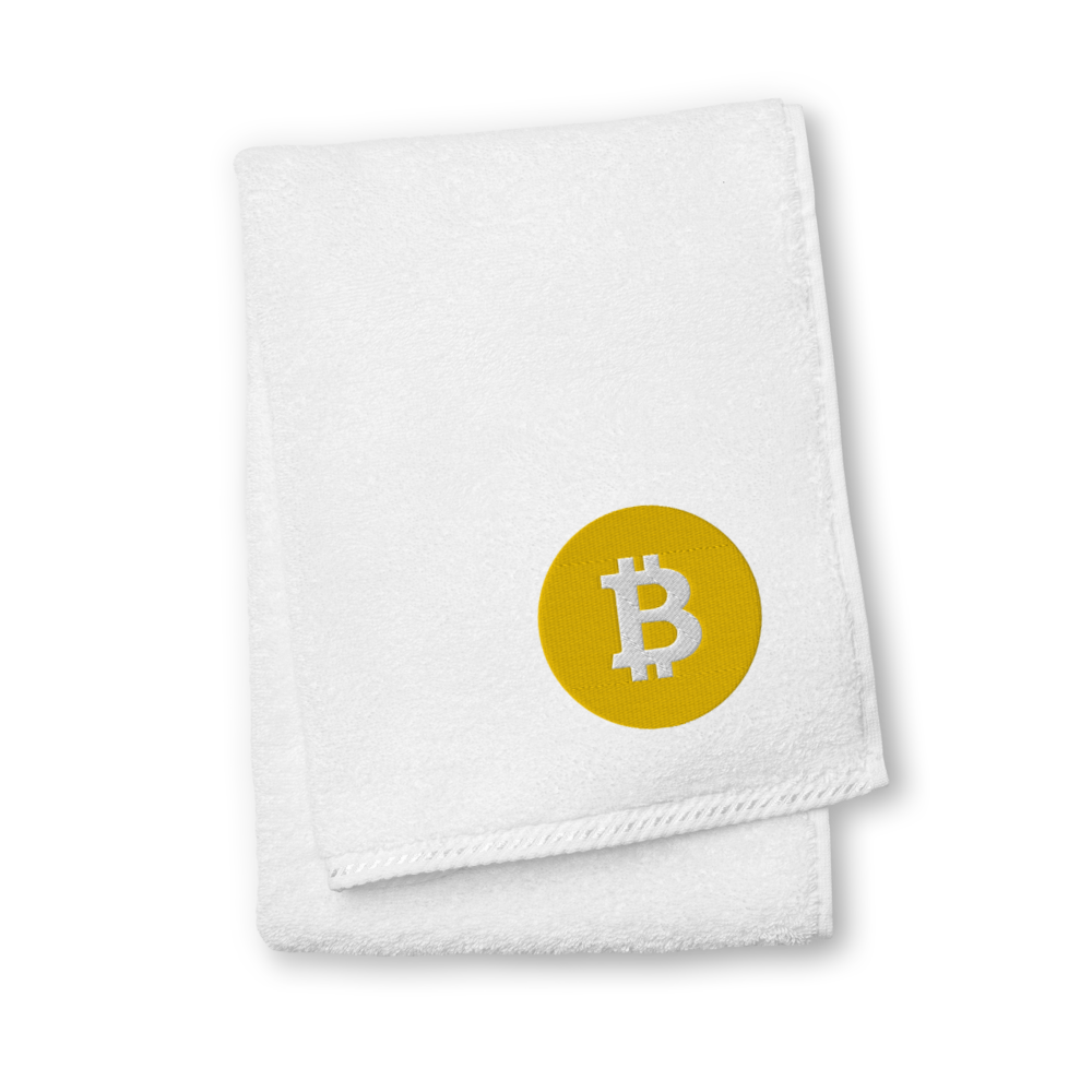 Bitcoin SV Logo Premium Embroidered Towel White Hand Towel - zeroconfs