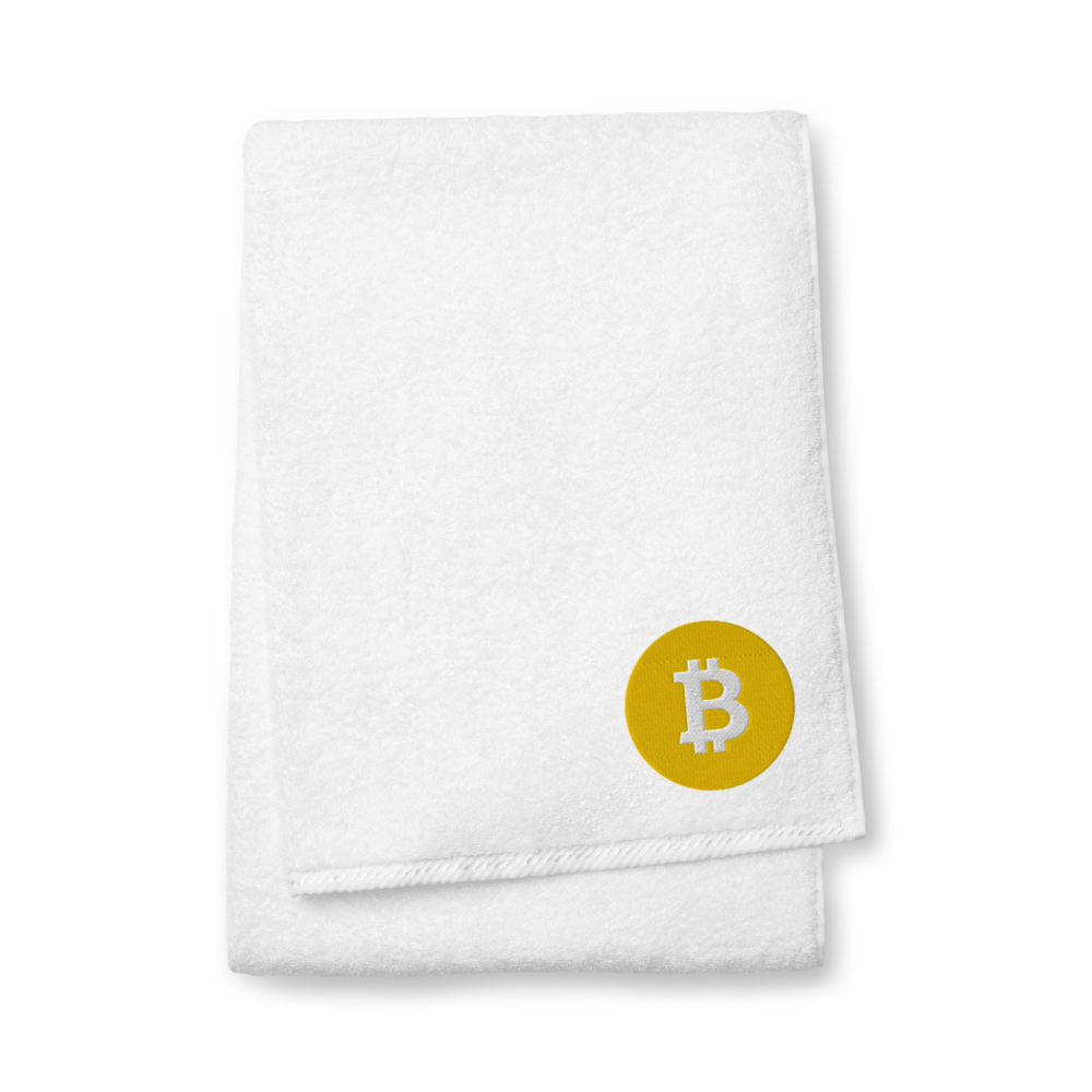 Bitcoin SV Logo Premium Embroidered Towel White Bath Towel - zeroconfs