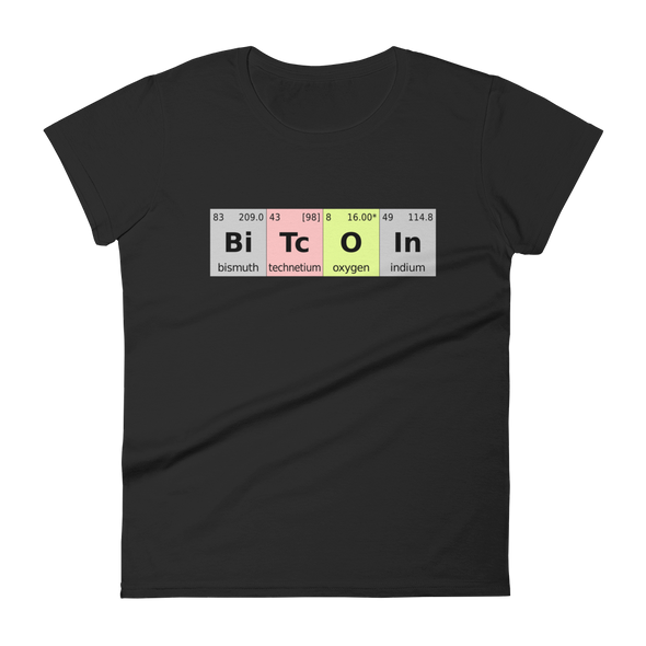 Bitcoin Periodic Table Women's T-Shirt Black S - zeroconfs