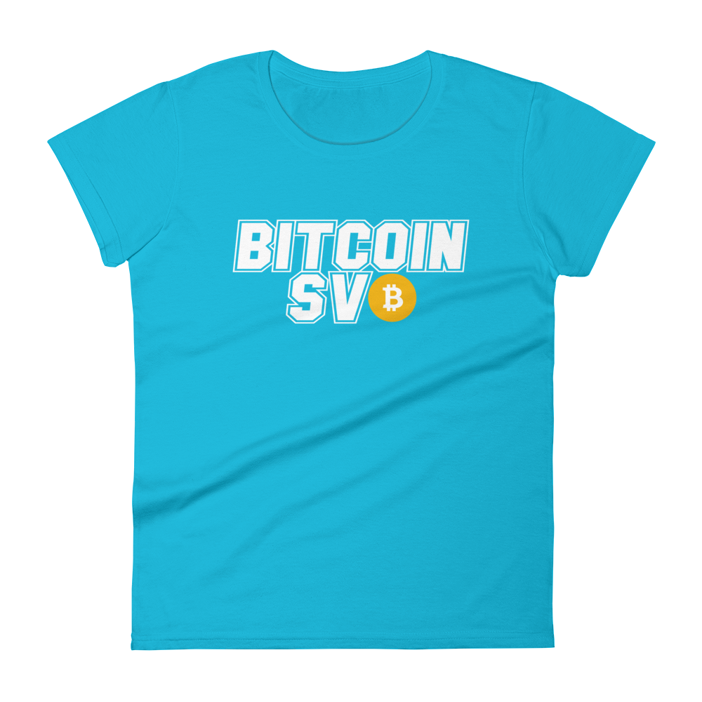 Bitcoin SV Sports Women's T-Shirt Caribbean Blue S - zeroconfs