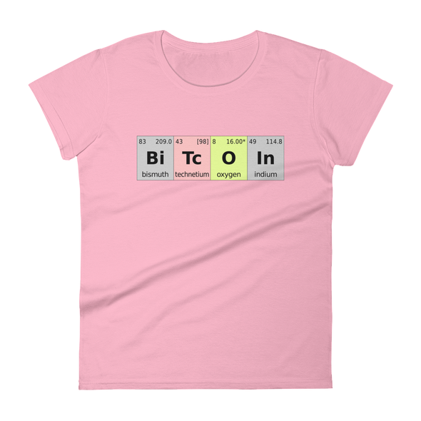 Bitcoin Periodic Table Women's T-Shirt Charity Pink S - zeroconfs