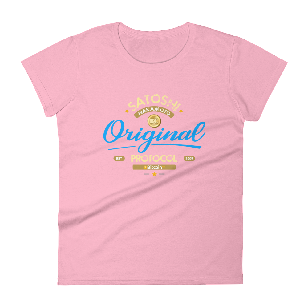 Original Bitcoin Women's T-Shirt Charity Pink S - zeroconfs