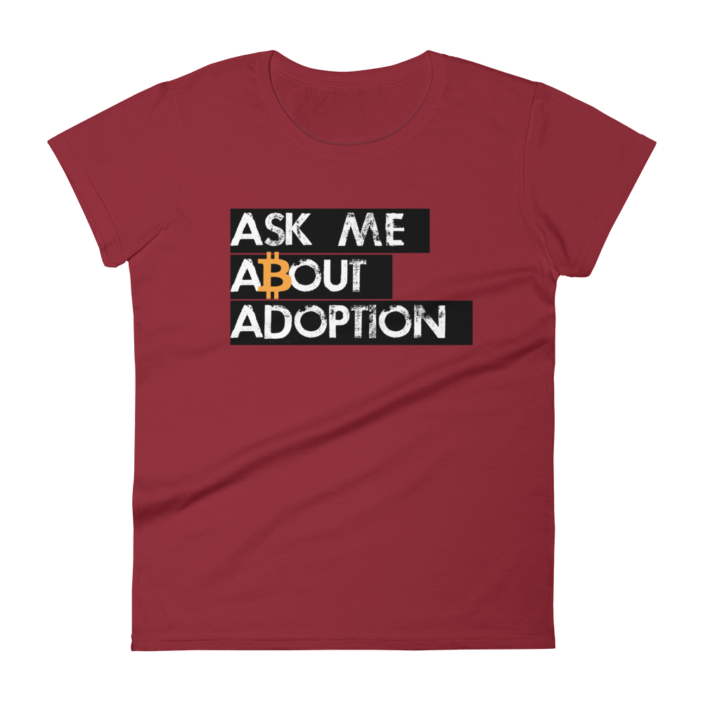 Ask Me About Adoption Bitcoin Women's T-Shirt Independence Red S - zeroconfs