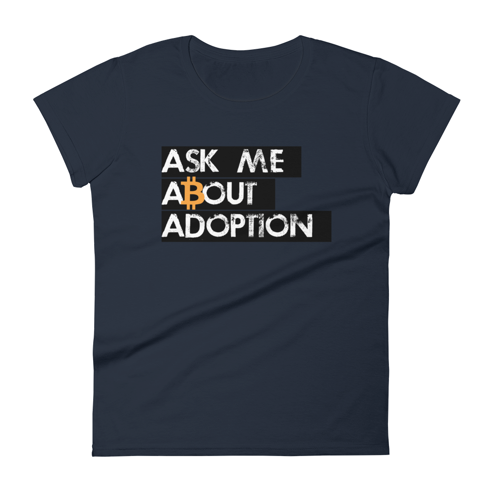 Ask Me About Adoption Bitcoin Women's T-Shirt Navy S - zeroconfs