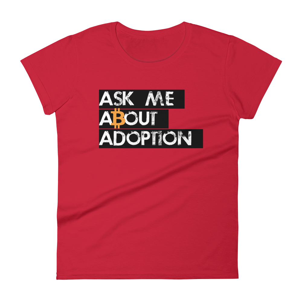 Ask Me About Adoption Bitcoin Women's T-Shirt Red S - zeroconfs