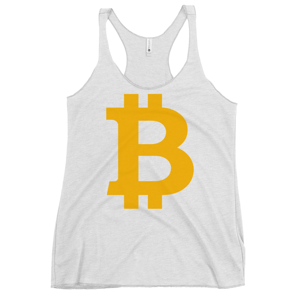 Bitcoin B Women's Racerback Tank Heather White XS - zeroconfs
