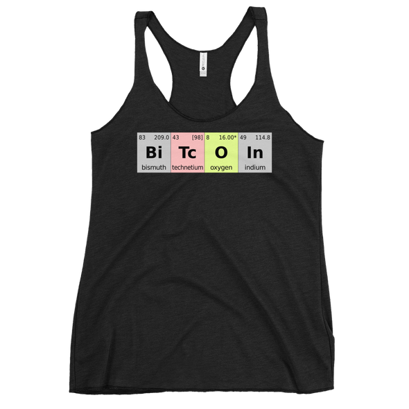 Bitcoin Periodic Table Women's Racerback Tank Vintage Black XS - zeroconfs