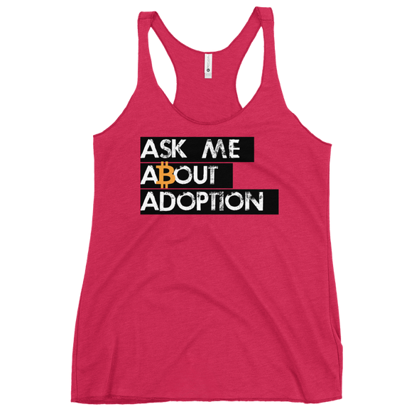 Ask Me About Adoption Bitcoin Women's Racerback Tank Vintage Shocking Pink XS - zeroconfs