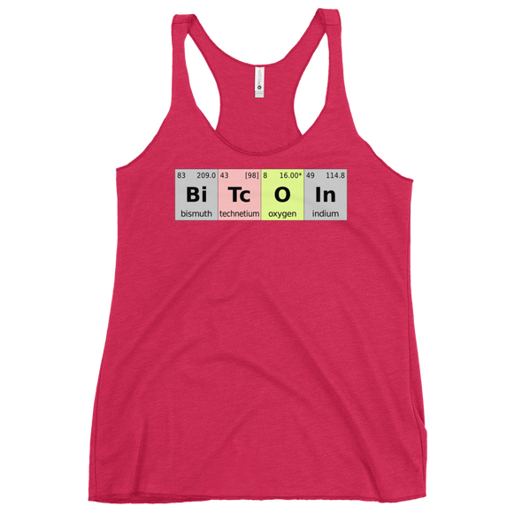 Bitcoin Periodic Table Women's Racerback Tank Vintage Shocking Pink XS - zeroconfs