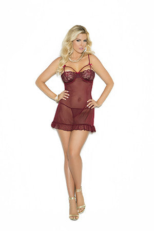 babydoll w/underwire demi cups - holiday