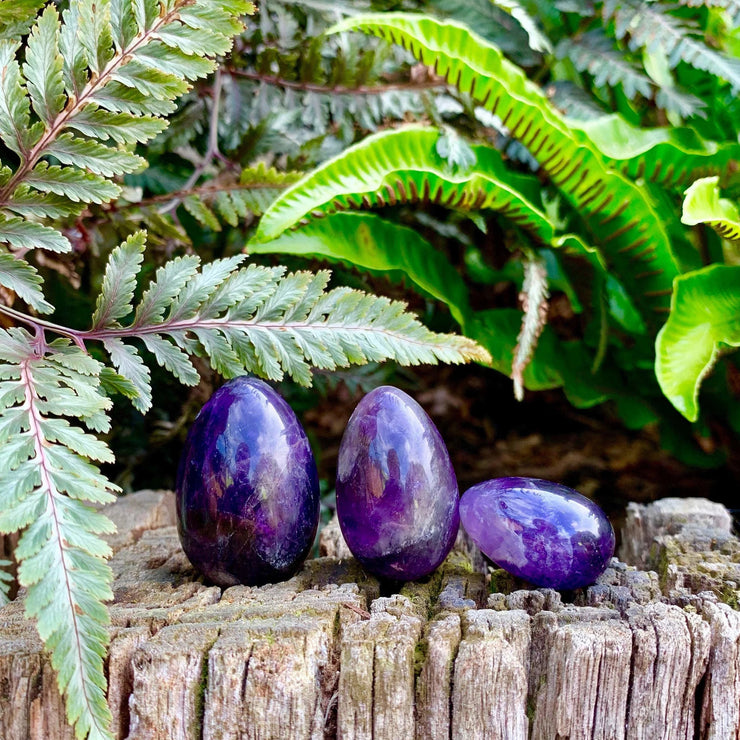 Handmade Natural Amethyst Yoni Eggs.