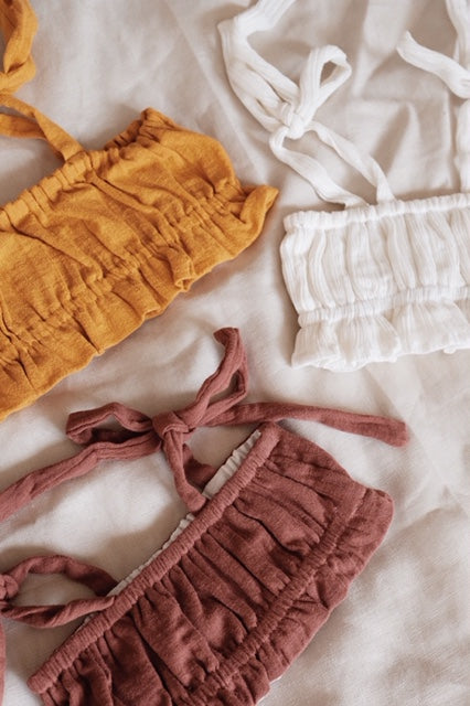 Tiah Frill Top - Ivory White, Mustard Yellow, & Burnt Mauve