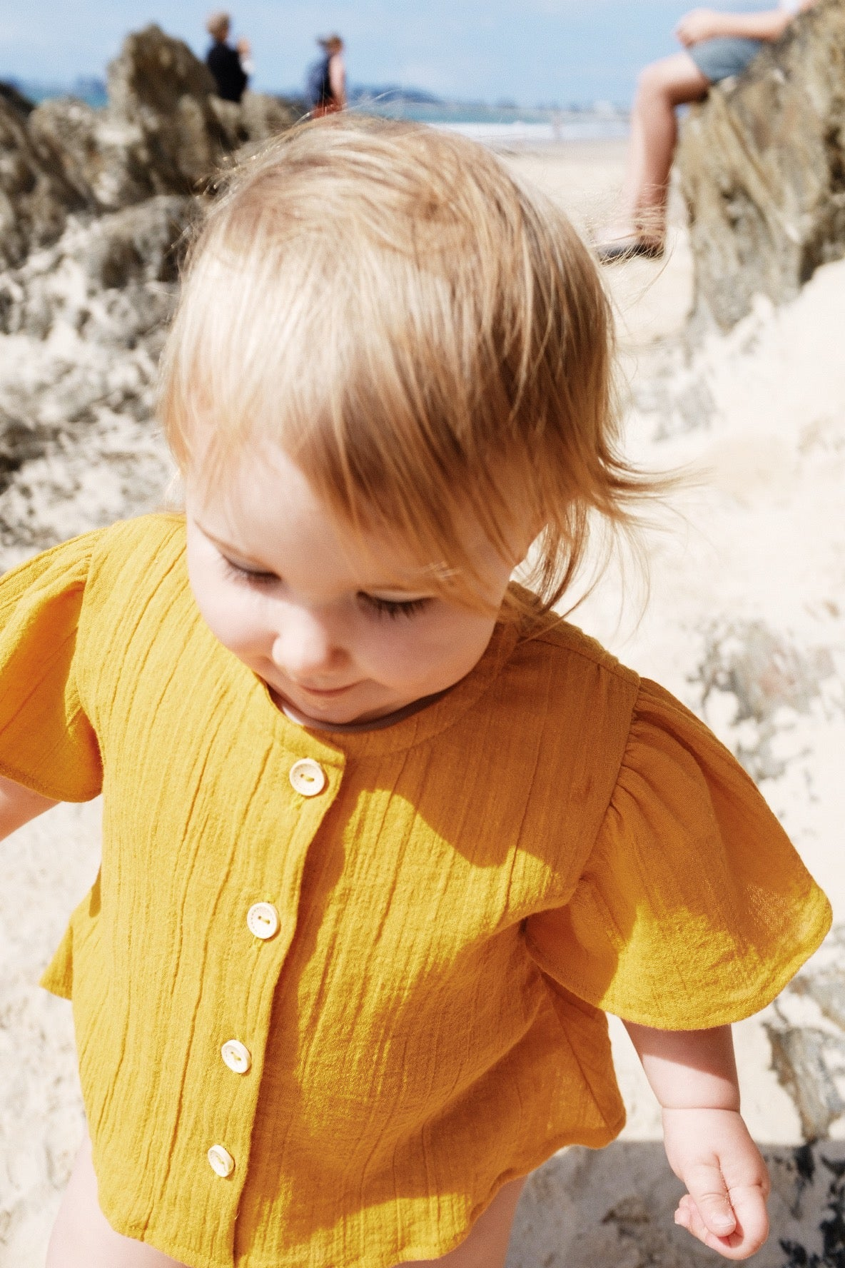 Susie Button Top - Yellow Mustard