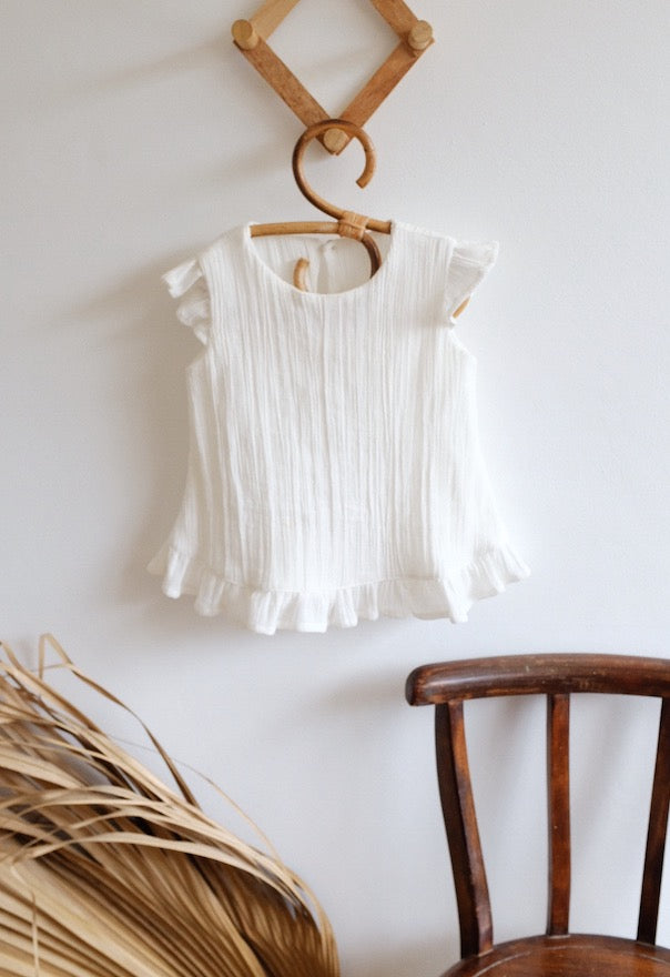 Texas Frill Cotton Dress in Earth or Ivory