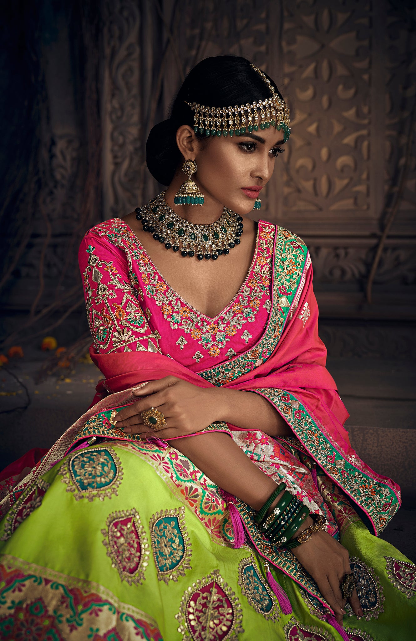 a50e5059c8 ... Load image into Gallery viewer, MULTI COLOUR HEAVY ZARI RESHAM  EMBROIDERY WITH MOTI AND GOTA ...