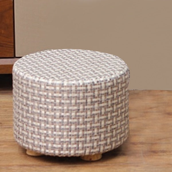 Small Stool Wooden Ottoman with Linen Cotton Cover