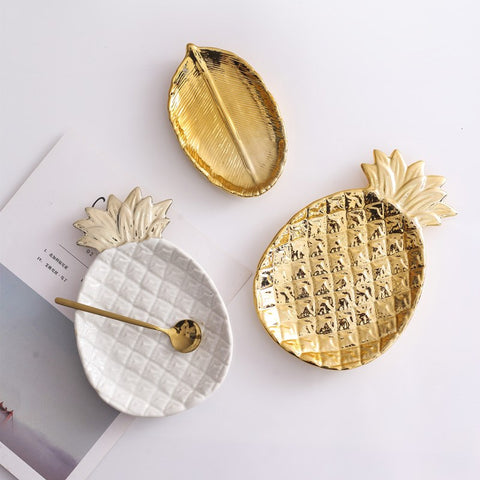 1pcs European Style Gold Ceramic Plate