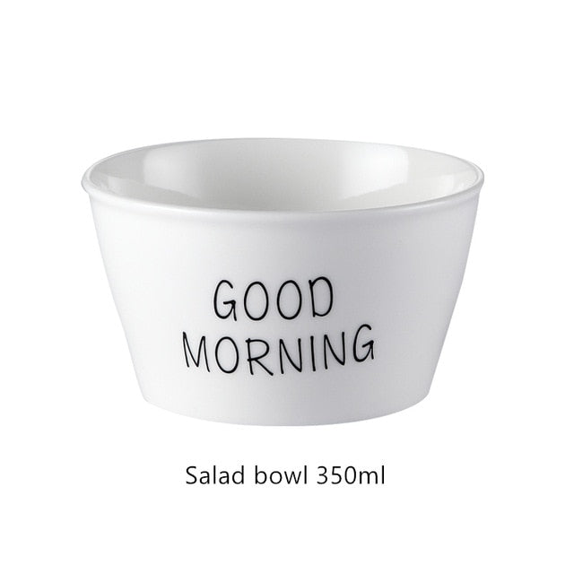 Good Morning Quote Porcelain Tableware Set