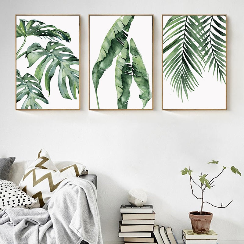 Plant Green Leaves Canvas Watercolor Painting