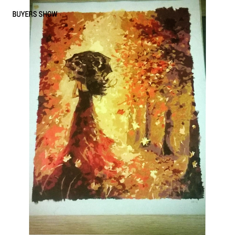 Beautiful Women in Autumn Landscape DIY Painting