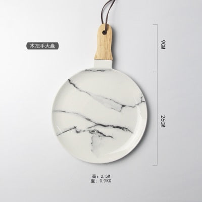 European Style Marble Pattern Ceramic Tableware
