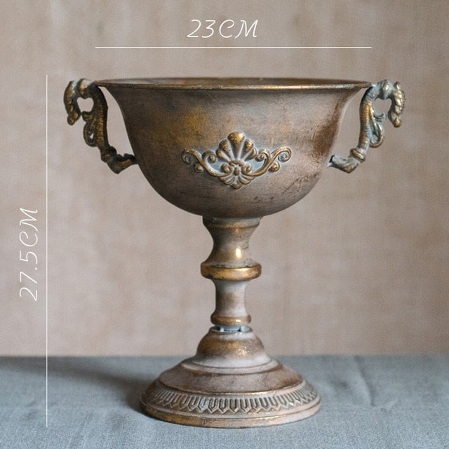 Vintage Old Wrought Iron Vase Flower Home Furnishing Golden Silver European Flower Pot  Goblet Classical Floral Decoration