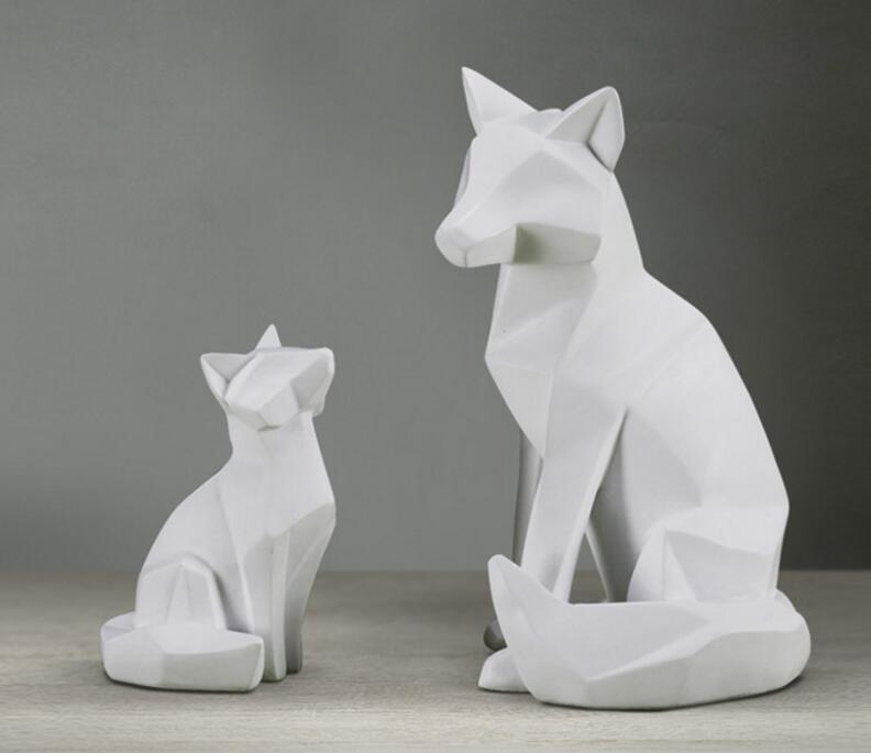Simple White Geometric Fox Statue