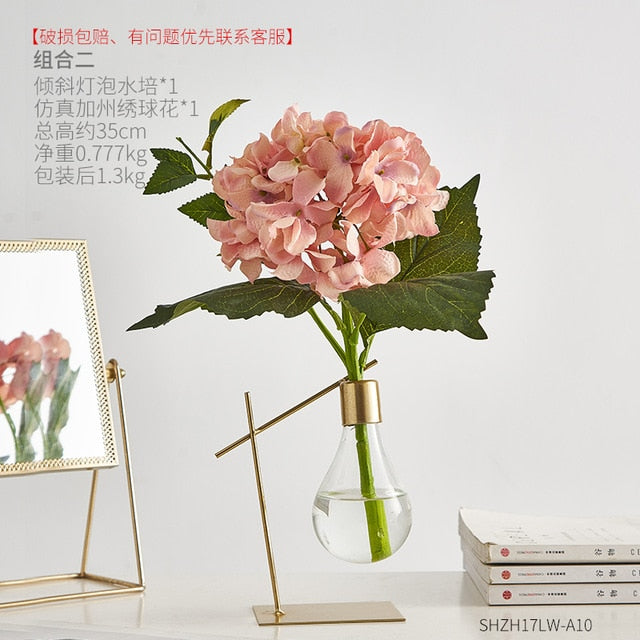 Nordic Decoration Home Transparent Hydroponic Glass Vase Home Decoration Accessories Modern Gold Vase Terrarium Vases for Flower