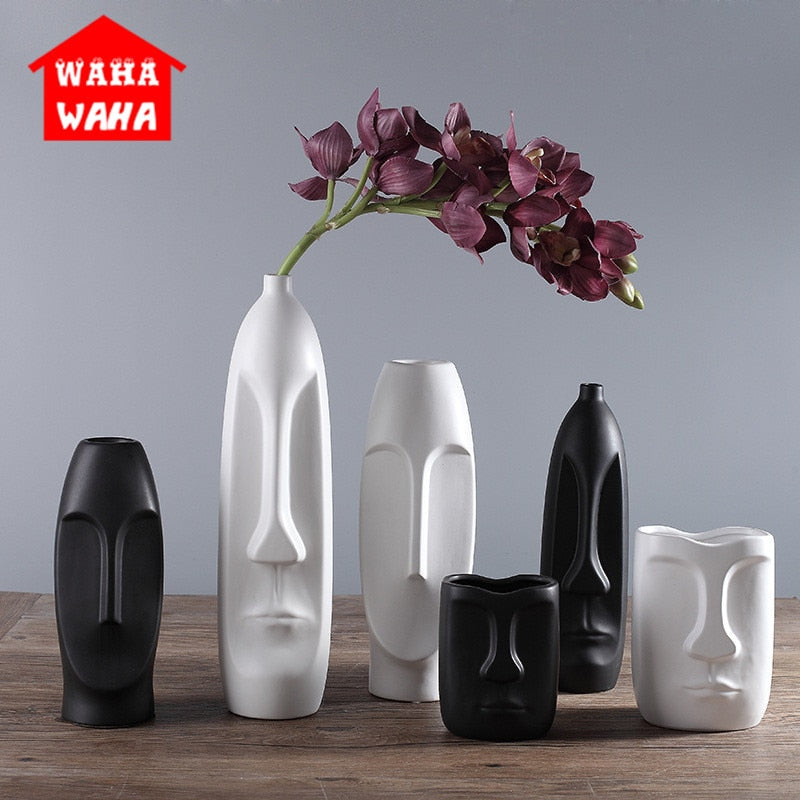 Nordic Minimalist Ceramic Abstract Vase Black and White Human Face Creative Display Room Decorative Figue Head Shape Vase