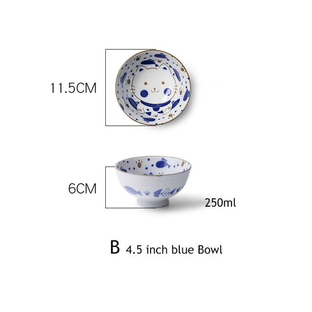 1pc Cute Ceramic Japanese Kitten Design Dinnerware