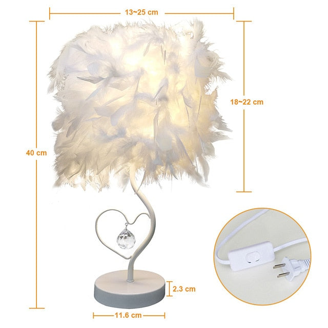 Heart Shape Feather Crystal Table Lamp