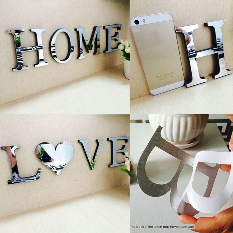 "4Pcs/Set Small Letter ""HOME"" ""LOVE"" DIY Mirror Wall Decor"