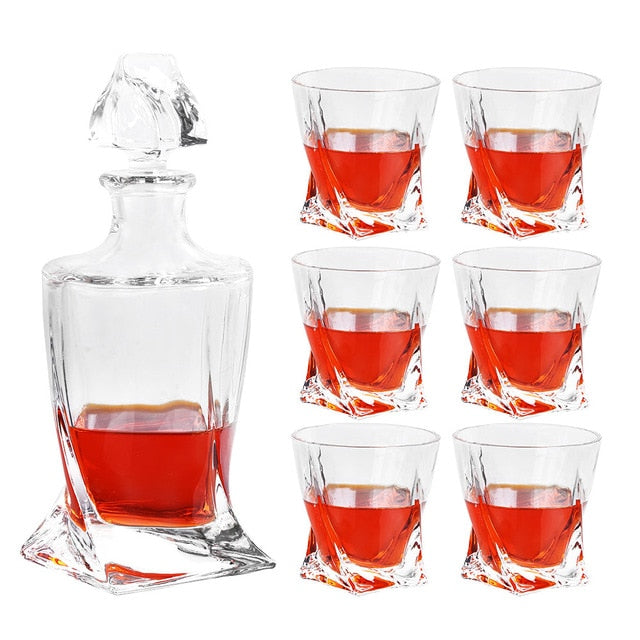 Elegant 7-Piece Whiskey Decanter Set with 6 Twist Glasses