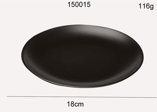 Black Melamine Round Dinner Plate