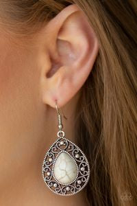 Stone Story * White * Paparazzi Earrings