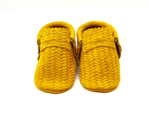 Basketweave Yellow Moccs- Double Trouble