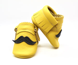 Mustache on Yellow  - Moccs