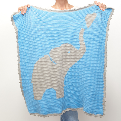 Heart Elephant Graphgan Baby Blanket Crochet Class