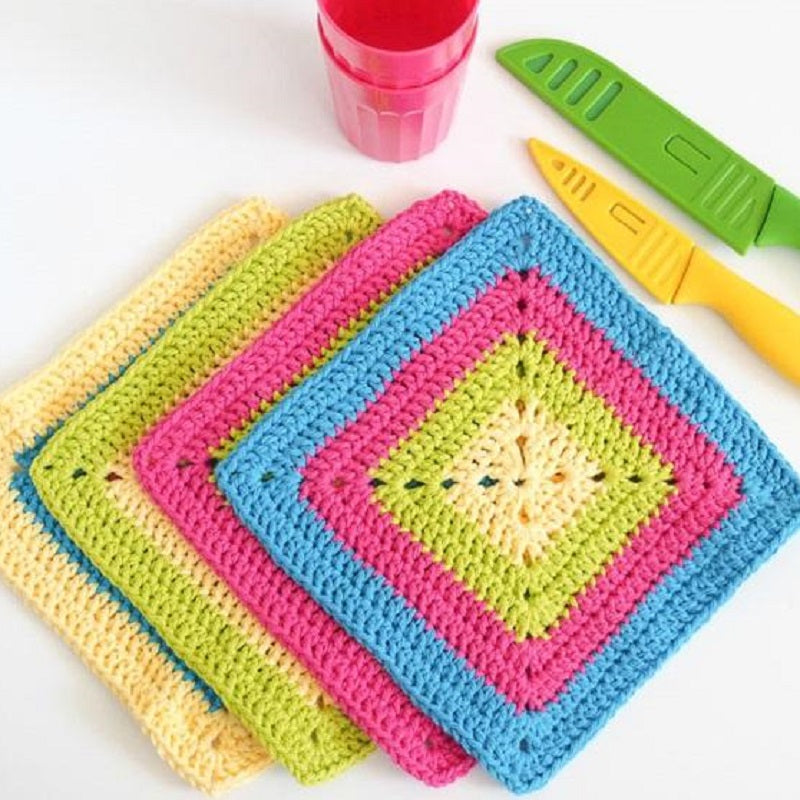 Colorful Solid Granny Square Dishcloth Crochet Pattern Makerdrop