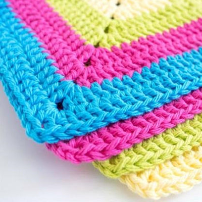 Colorful Solid Granny Square Dishcloth Crochet Pattern