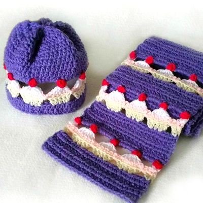 Cupcake Lovers Beanie & Scarf Set Crochet Patterns