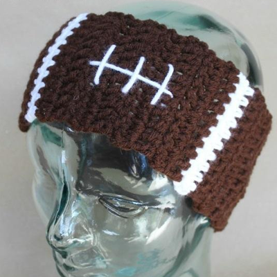 Football Ear Warmers Crochet Pattern