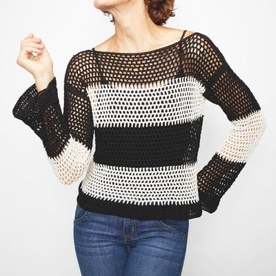 Monochrome Tie Sweater Crochet Pattern
