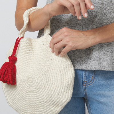 Round Crochet Bag with Tassel Crochet Pattern