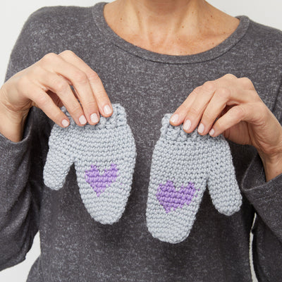 Kids Heart Mittens Crochet Pattern