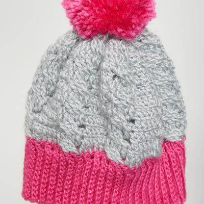 Pink Pom Pom Cable Beanie Crochet Kit