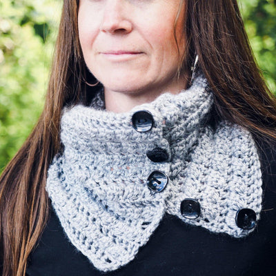 Button-Up Squares Cowl Neck Warmer Crochet Pattern
