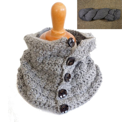 Button-Up Squares Cowl Neck Warmer Crochet Kit