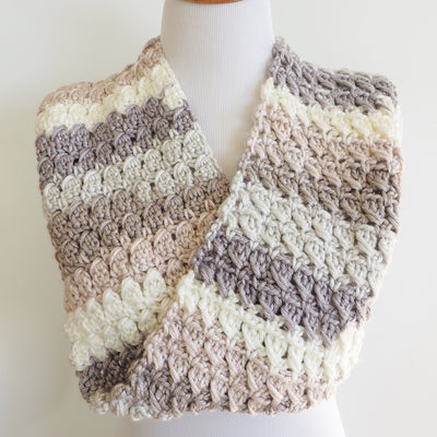 Cross-over Block Stitch Infinity Scarf Crochet Pattern