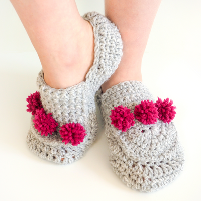 Mini Pom Pom Slip on Slippers Crochet Pattern